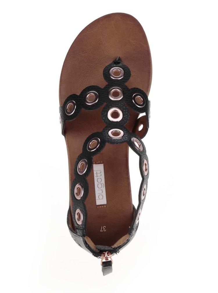 Sandale negre bugatti Jodie cu detalii metalice argintii