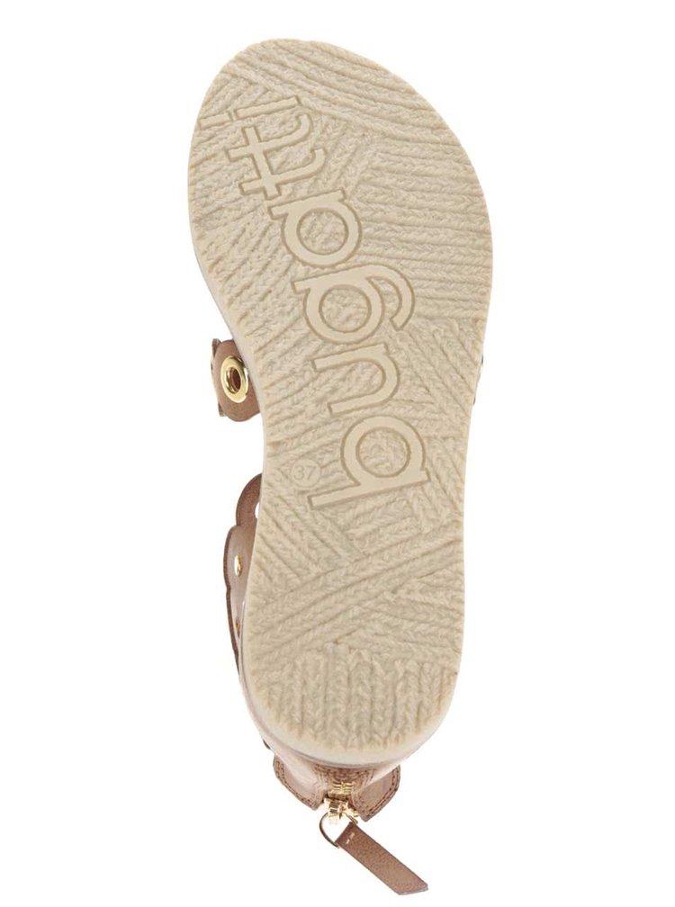 Sandale maro bugatti Jodie cu detalii metalice aurii