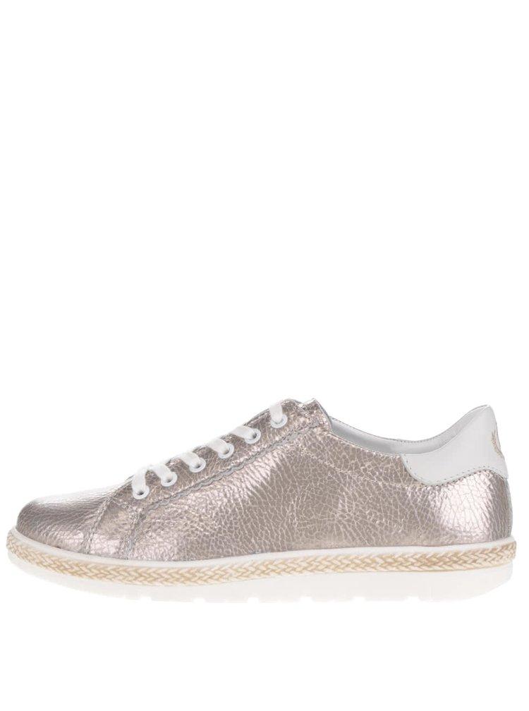 Pantofi sport aurii pentru femei bugatti Azra din piele și piele sintetică