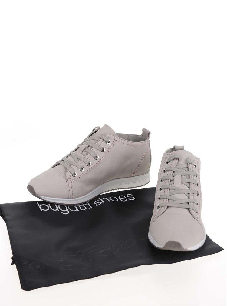 Šedé dámské kožené kotníkové boty s potiskem loga bugatti Fina
