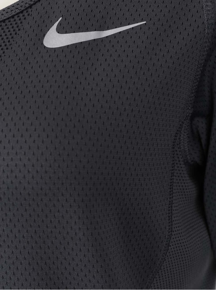 Tmavě šedé dámské funkční tričko s dlouhým rukávem Nike Zonal Cooling Relay