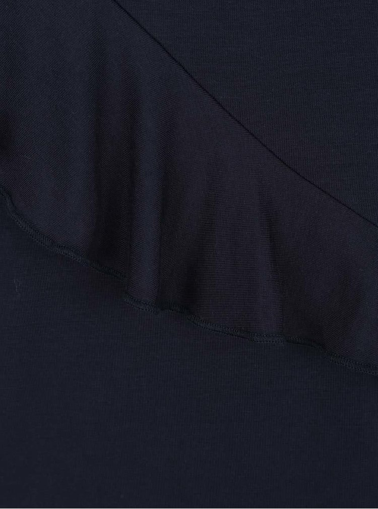 Bluza albastru inchis Selected Femme Galina cu volan decorativ