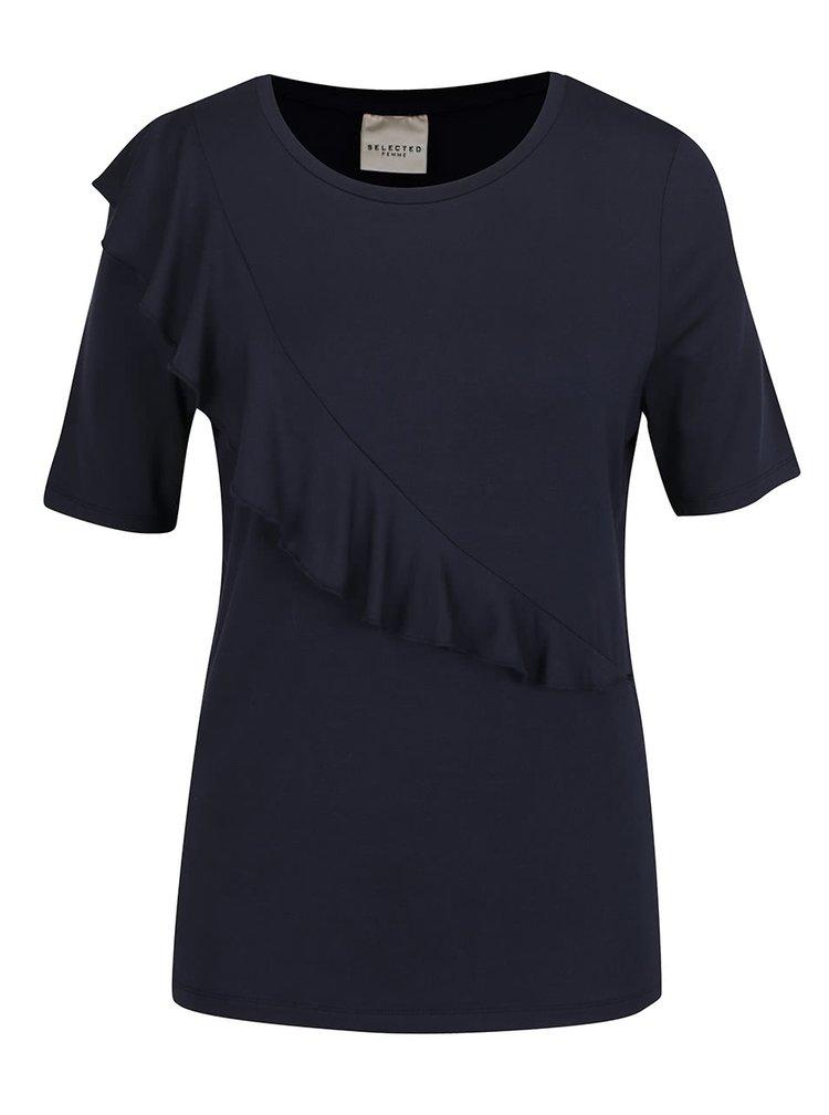 Tmavě modré tričko s volánem Selected Femme Galina