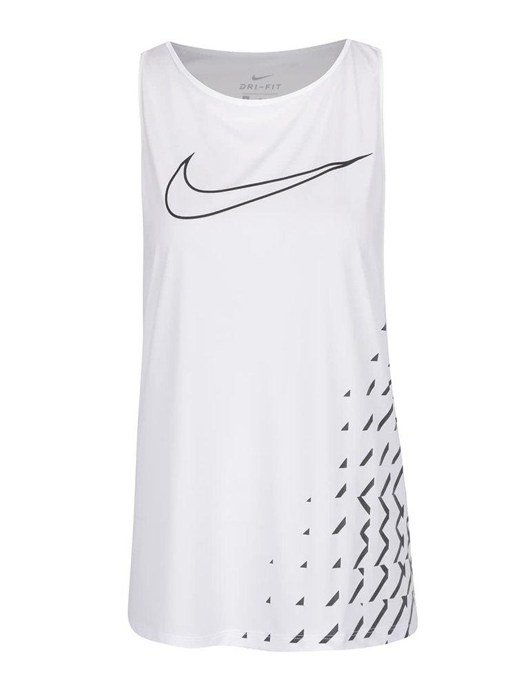 Bílé dámské funkční tílko s potiskem Nike Breathe