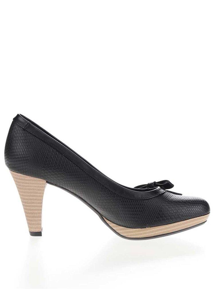 Pantofi cu toc negri bugatti Isabella cu funda decorativa