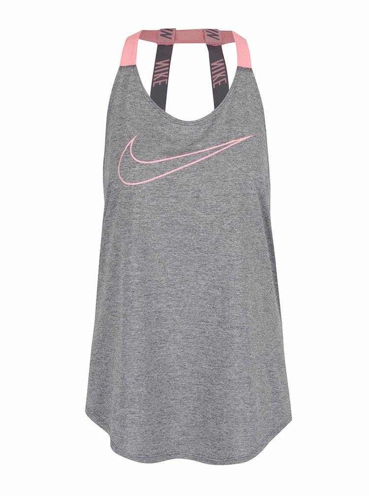 Šedé dámské žíhané funkční tílko s pásky na zádech Nike Dry