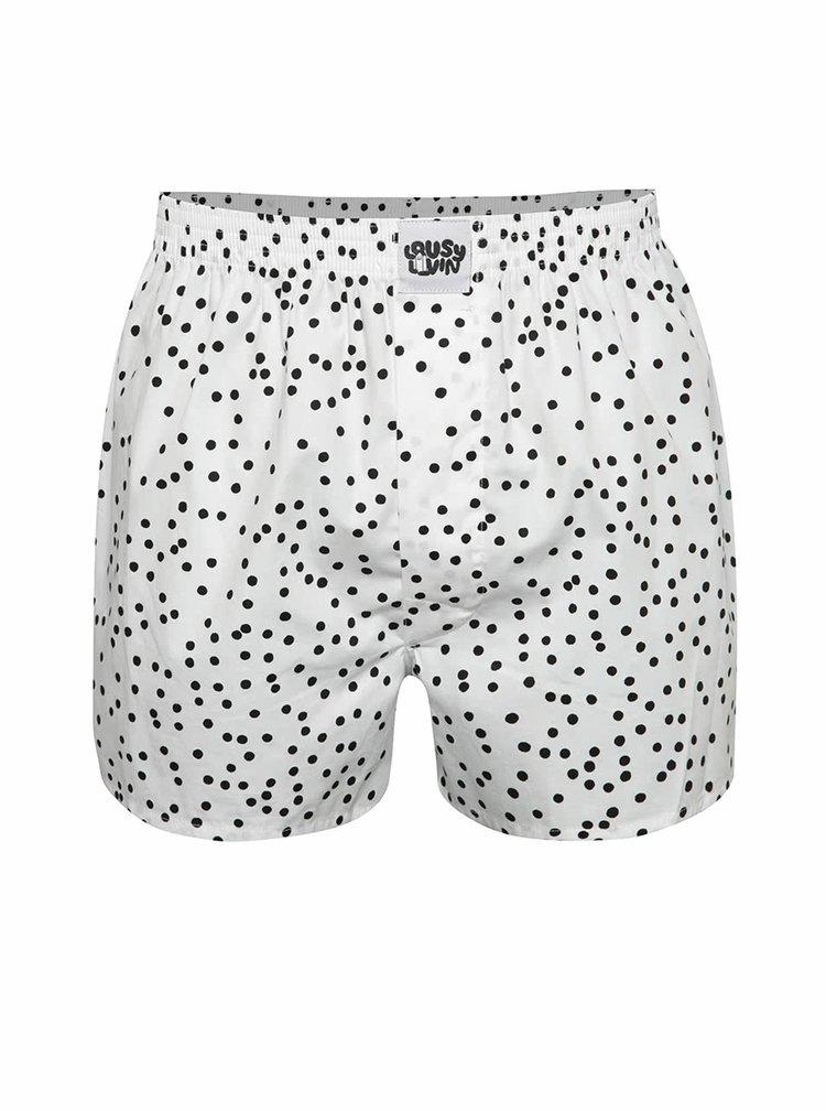 Boxeri albi Lousy Livin Dots cu model cu buline negre