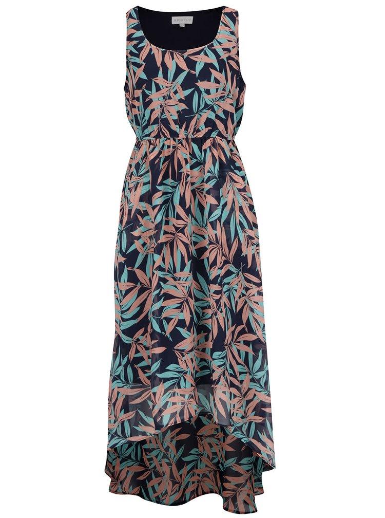 Růžovo-modré vzorované šaty s prodlouženým zadním dílem Apricot