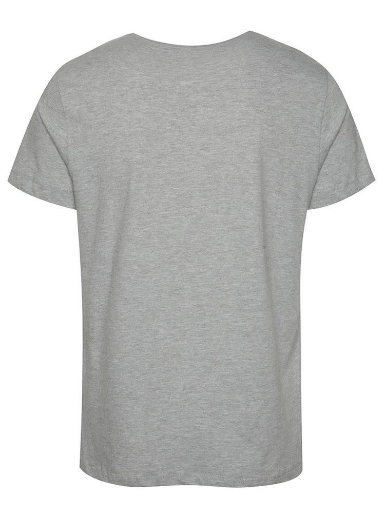 Tricou gri melanj Blend din bumbac cu print
