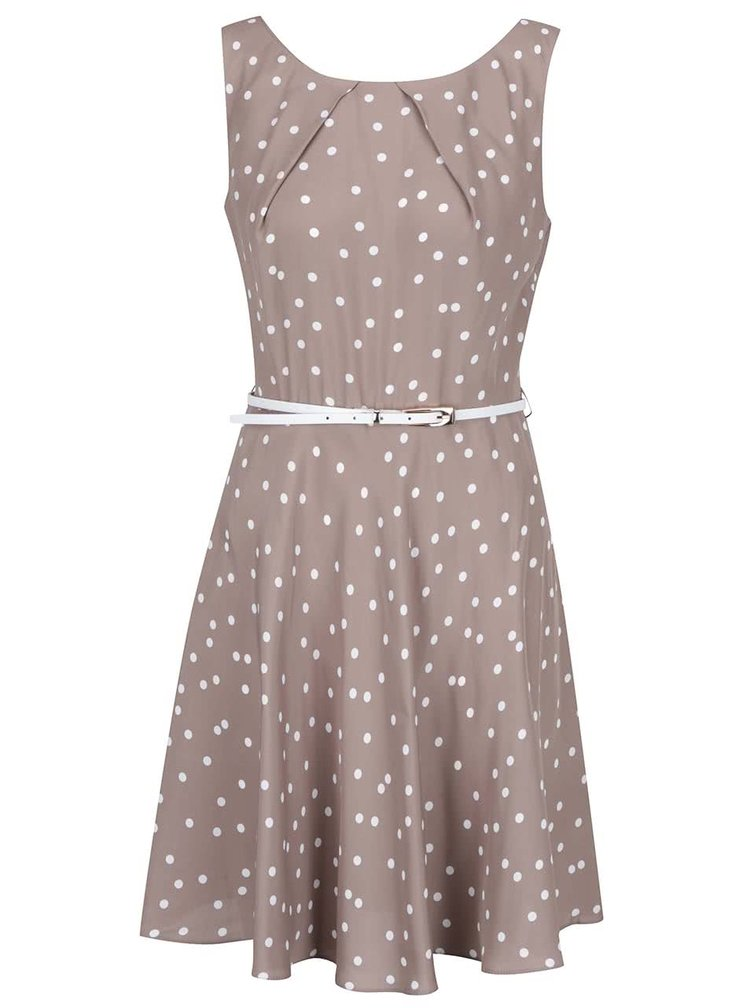 Béžové puntíkované šaty s páskem Apricot