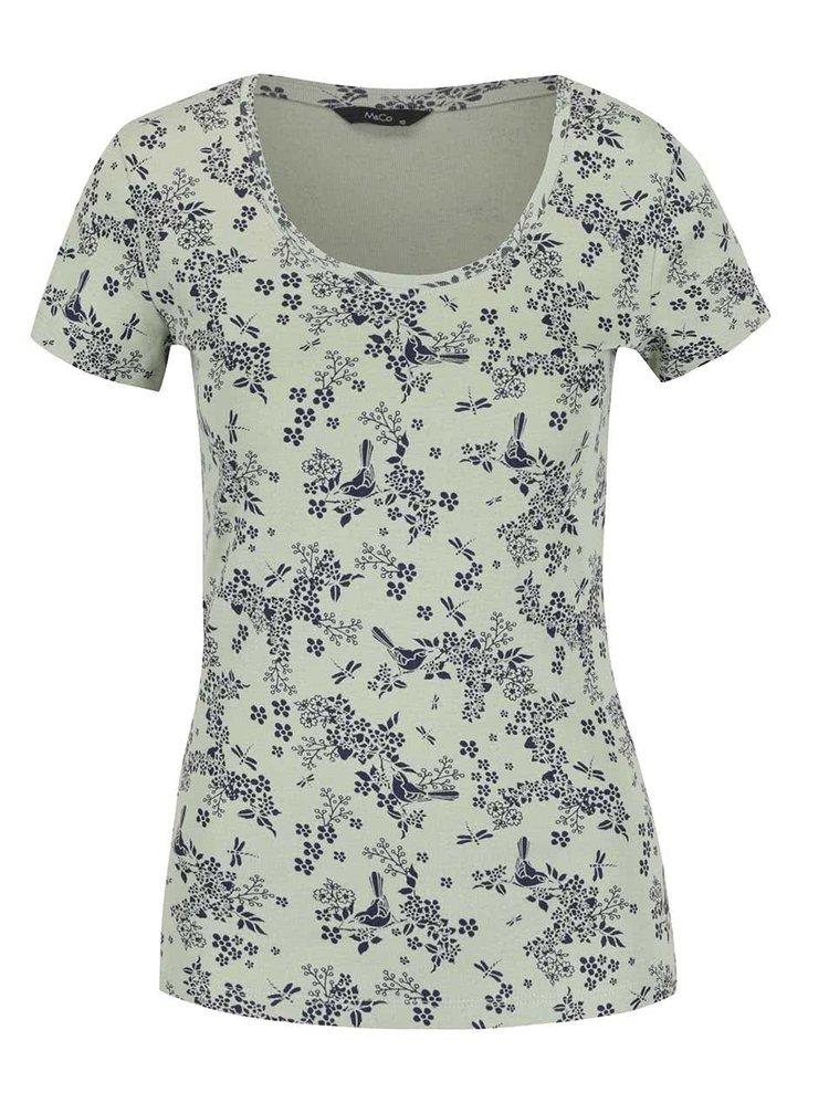 Světle zelené dámské vzorované tričko M&Co