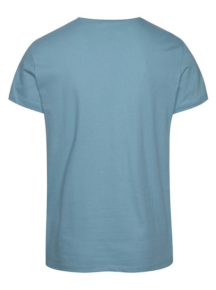 Tricou albastru deschis Blend din bumbac cu print