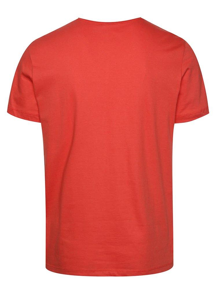 Červené žíhané triko s potiskem a krátkým rukávem Blend