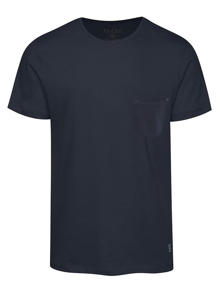 Tmavě modré triko s kapsou Blend