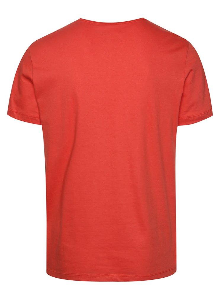 Tricou roșu cărămiziu Blend din bumbac cu buzunar