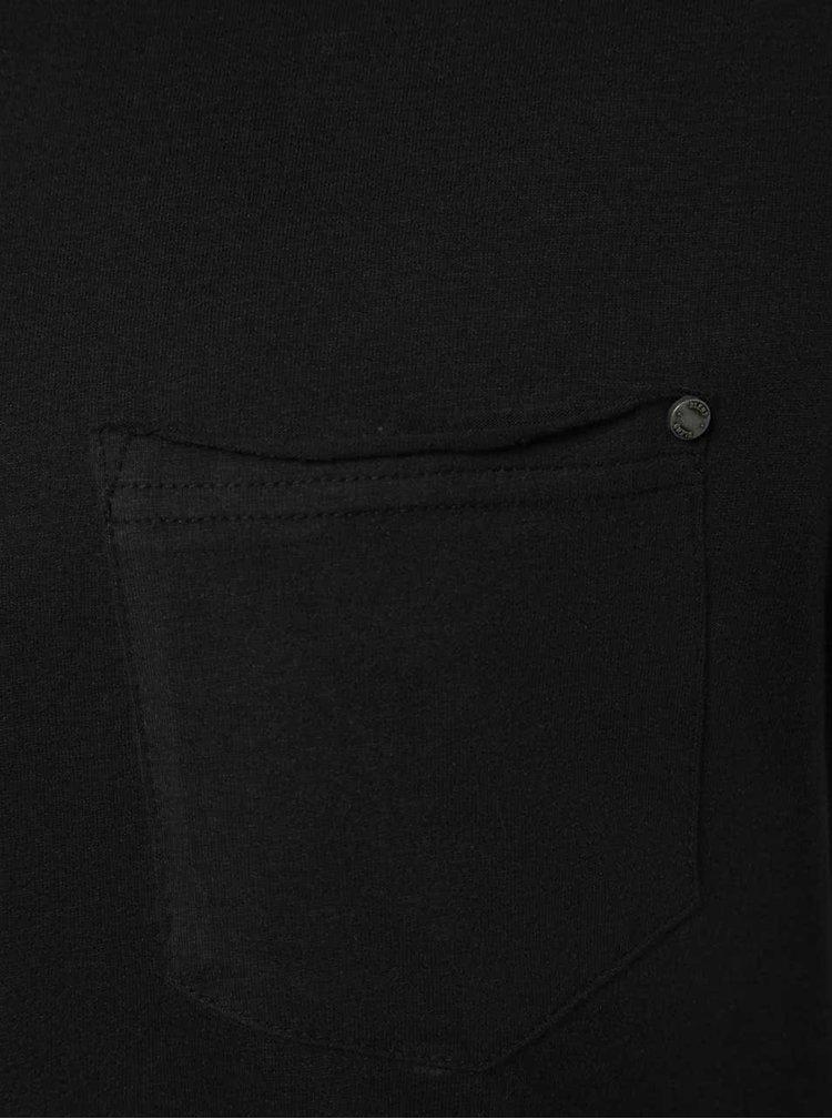 Tricou negru Blend din bumbac cu buzunar