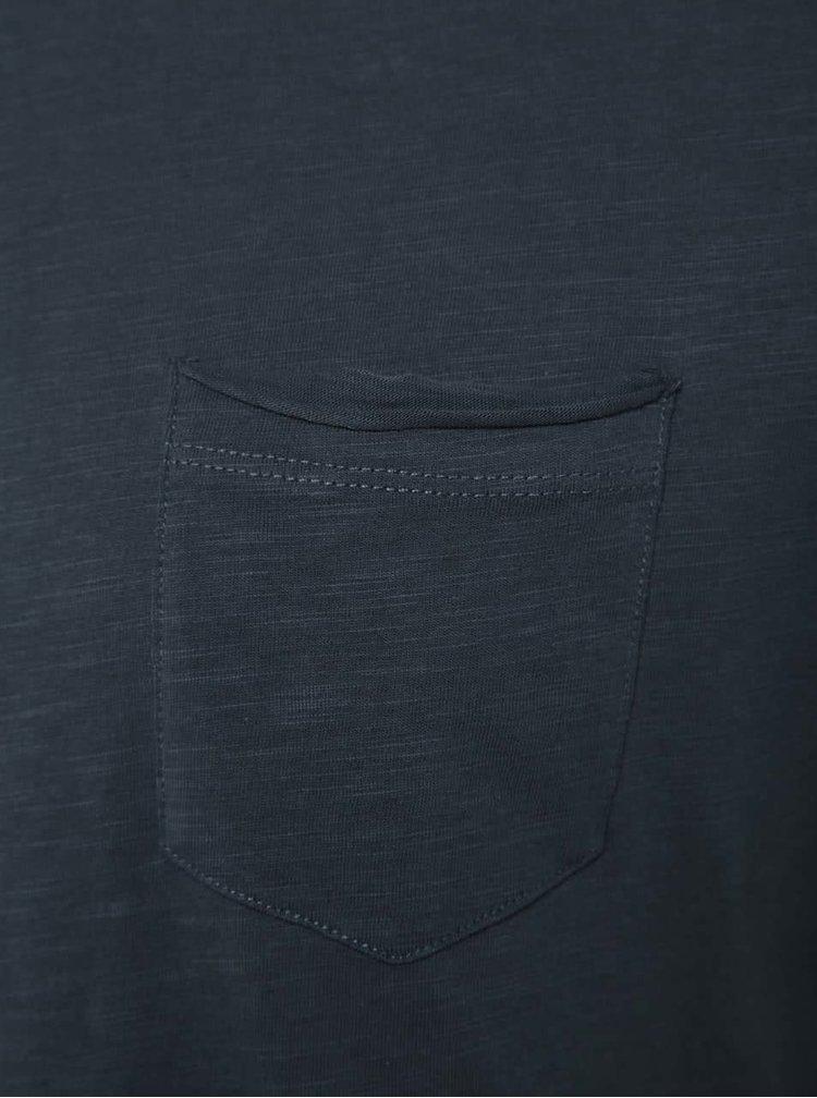 Tricou albastru Blend din bumbac cu buzunar