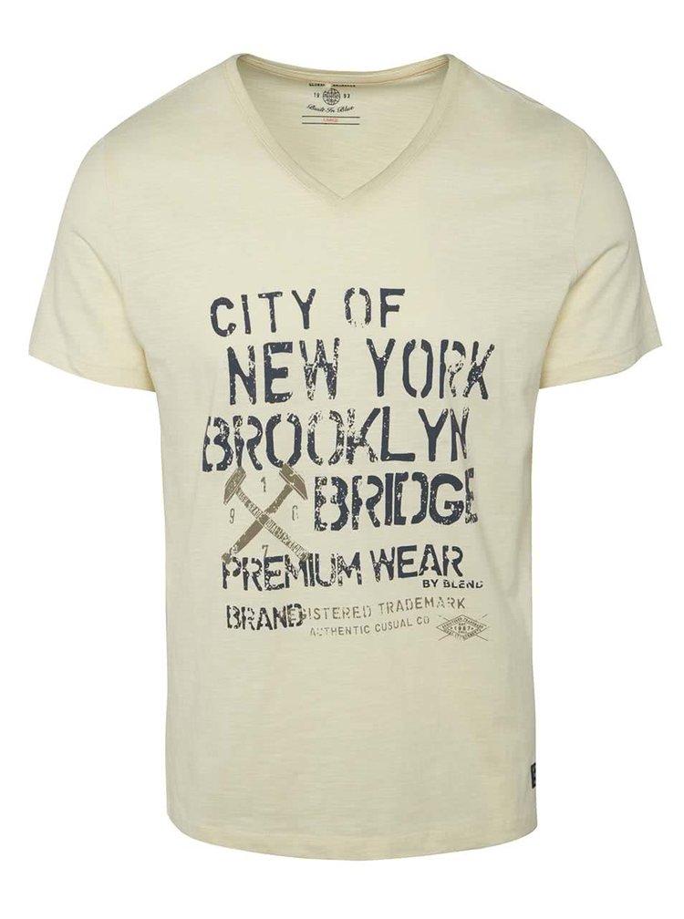 Béžové triko s potiskem a véčkovým výstřihem Blend