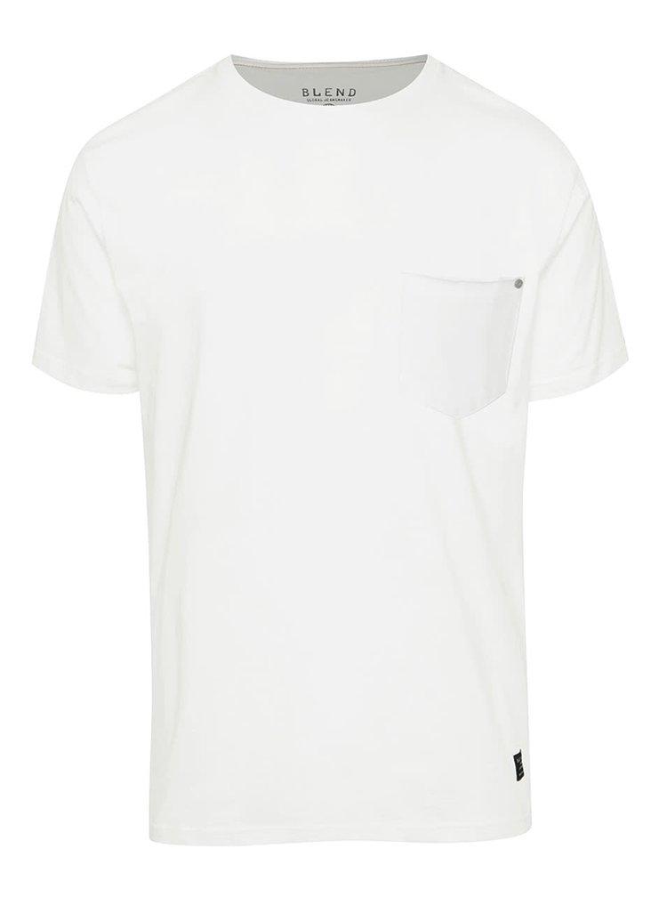Tricou alb Blend din bumbac cu buzunar