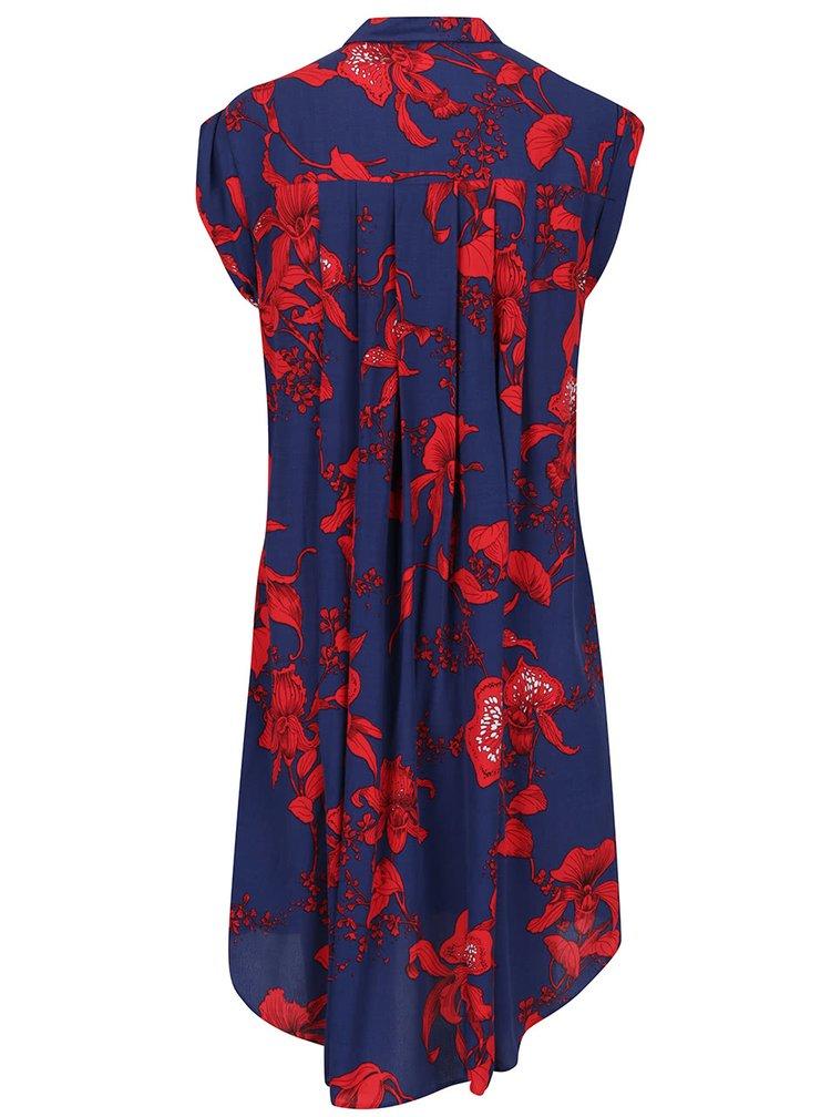 Rochie tip cămașă albastru cu roșu Closet