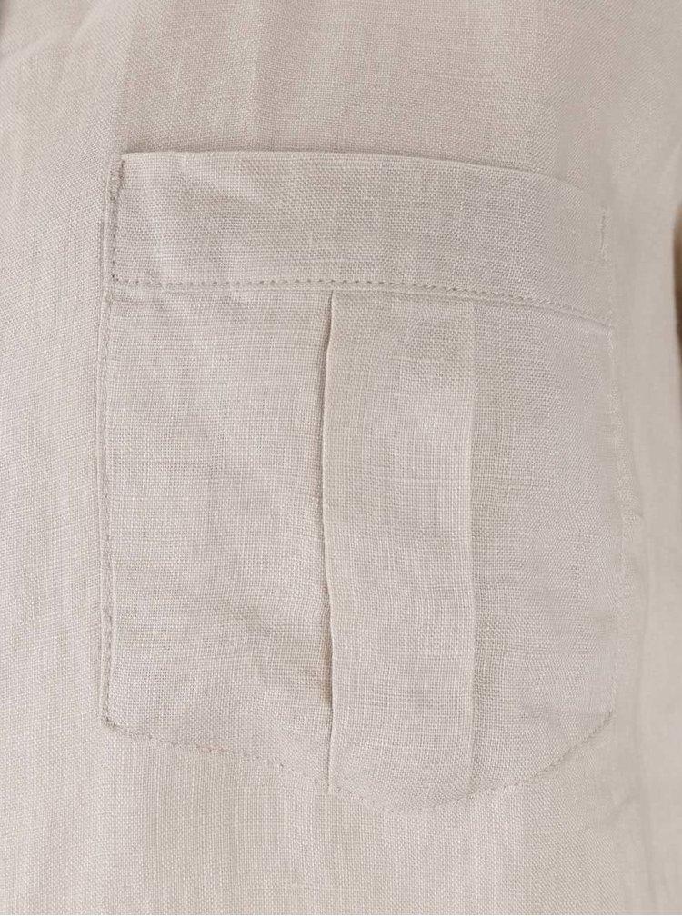 Krémová lněná dámská košile M&Co