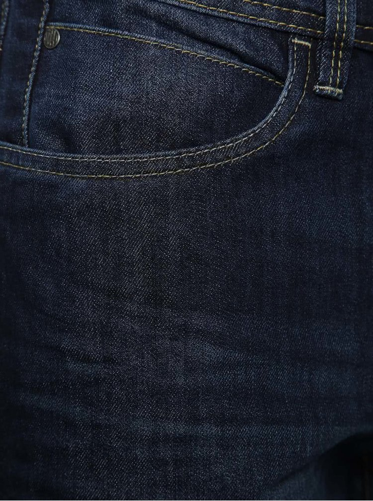 Tmavě modré džínové kraťasy s vyšisovaným efektem Blend