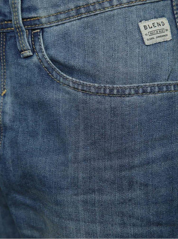 Modré džínové kraťasy s vyšisovaným efektem Blend