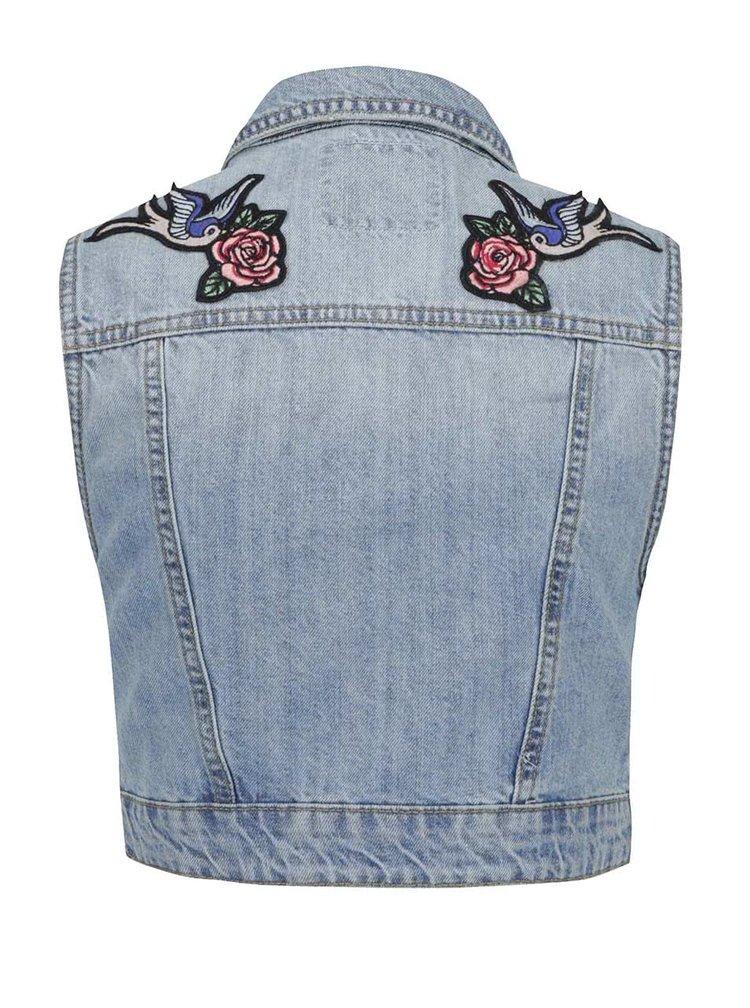 Modrá džínová vesta s výšivkou na zádech TALLY WEiJL