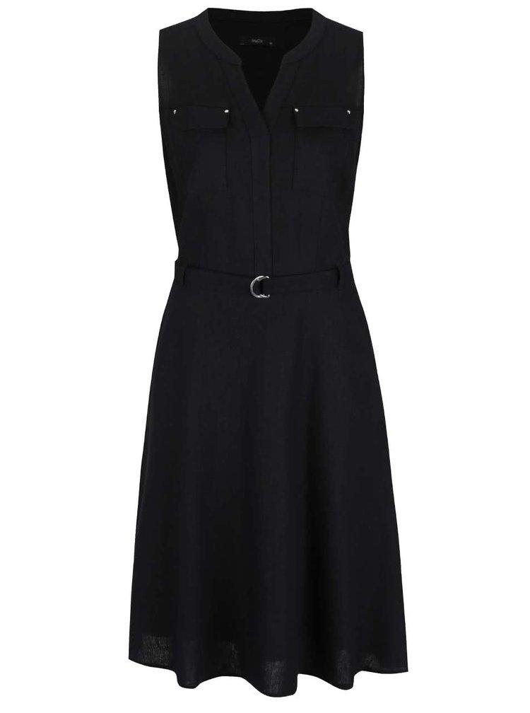 Černé lněné šaty s páskem M&Co