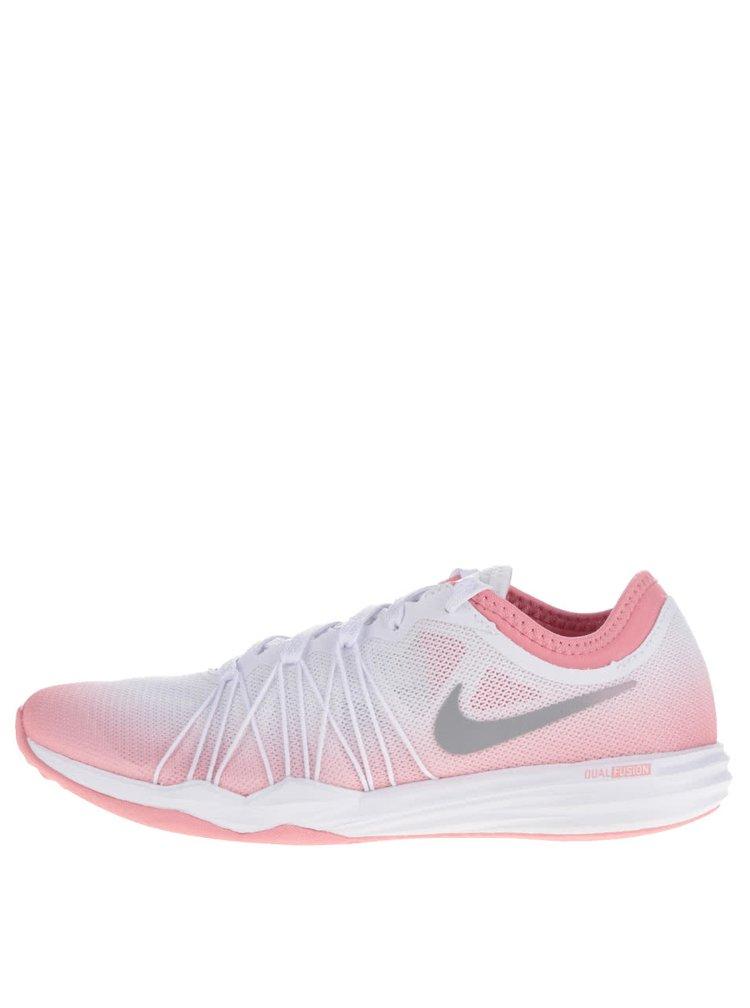 Růžovo-bílé dámské tenisky Nike Dual Fusion