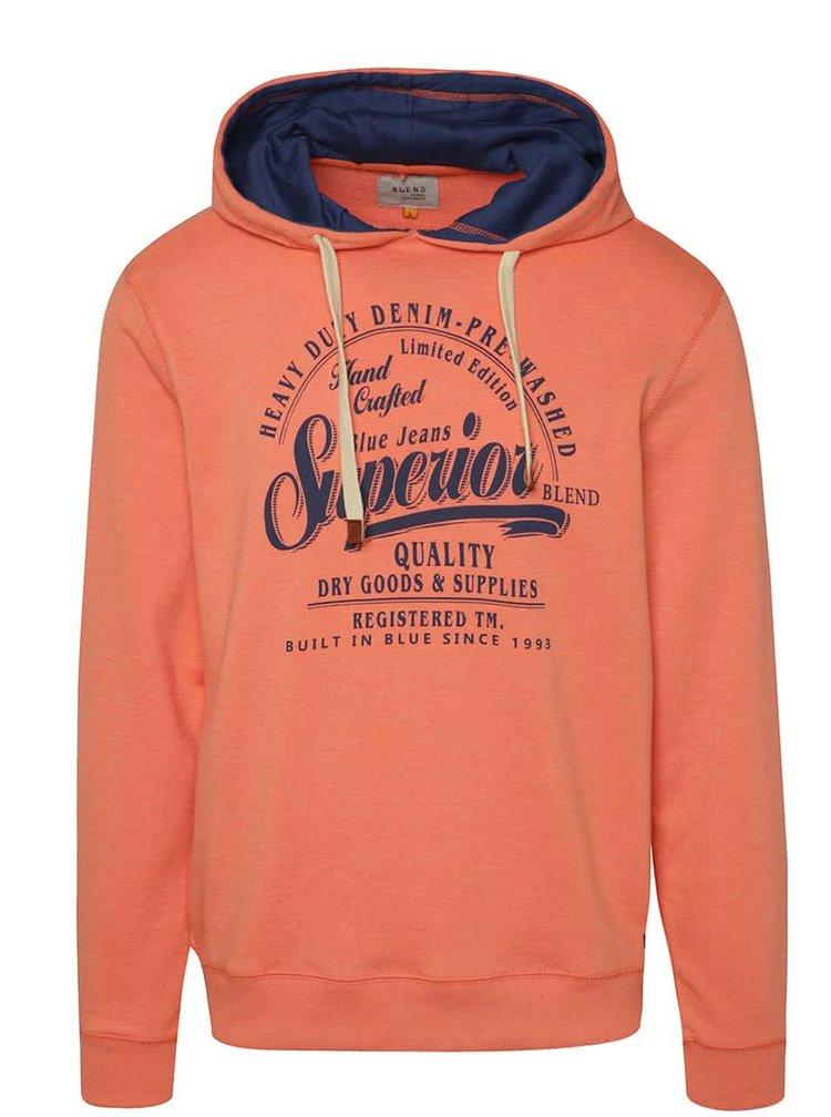 Oranžová mikina s potiskem a kapucí Blend
