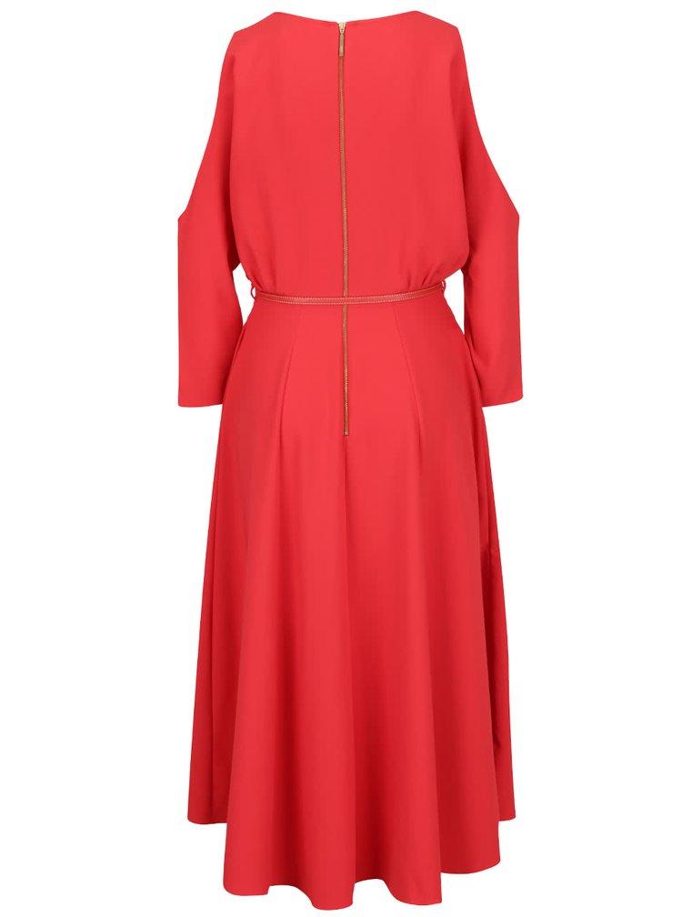 Červené šaty s průstřihy na ramenou a páskem Closet