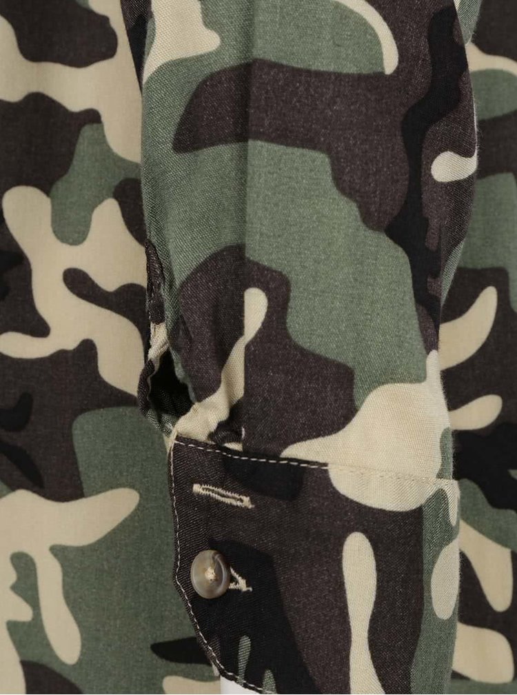 Rochie cămașă verde camouflage TALLY WEiJL