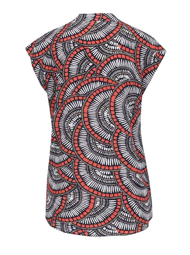 Krémovo-červená vzorovaná halenka bez rukávu M&Co