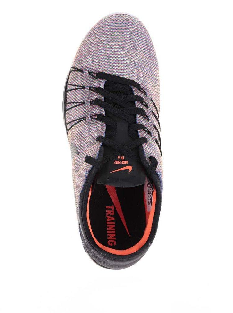 Oranžovo-černé dámské tenisky Nike Free 6 Print