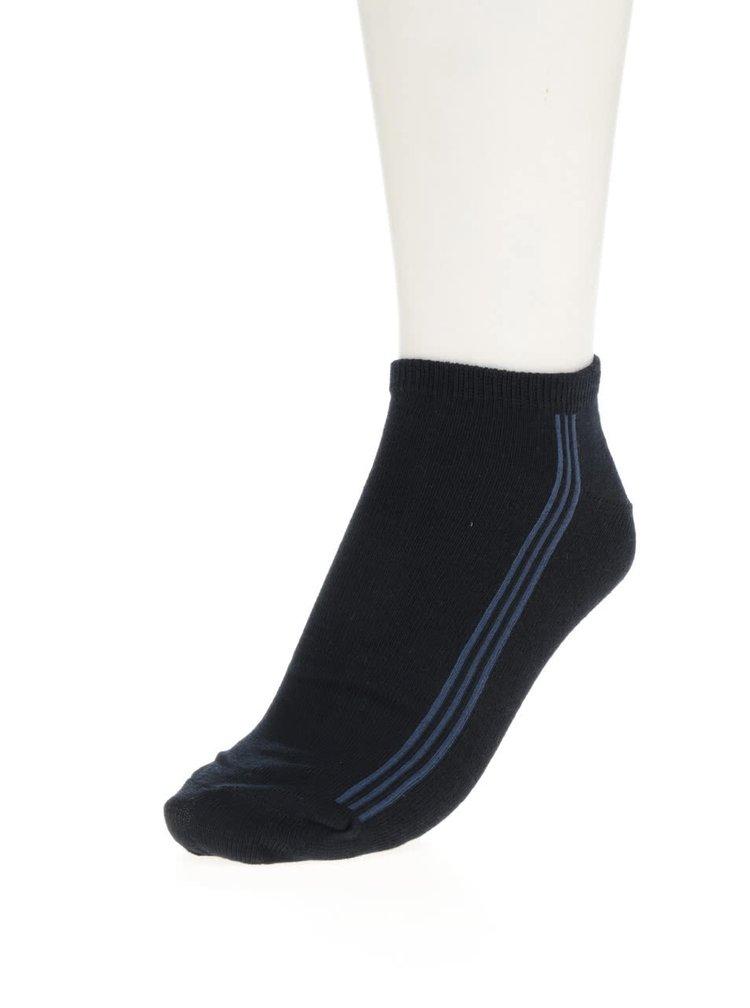 Tmavě modré pánské kotníkové ponožky s pruhy Bellinda In-Shoe
