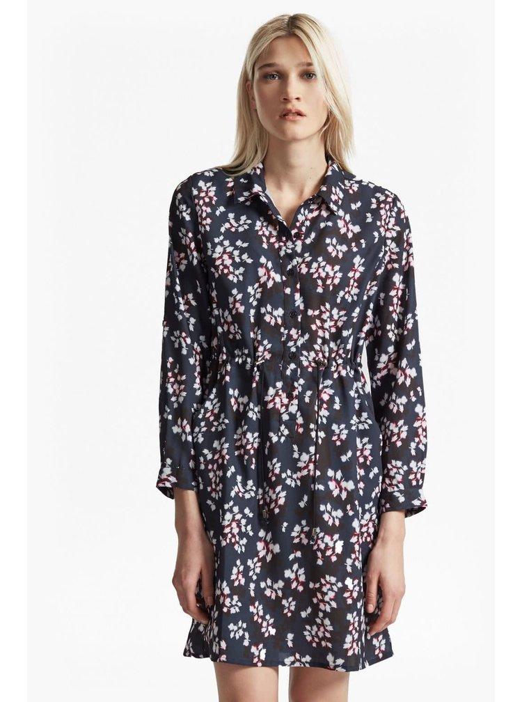 Tmavě modré košilové šaty s květovaným vzorem Connection Eva