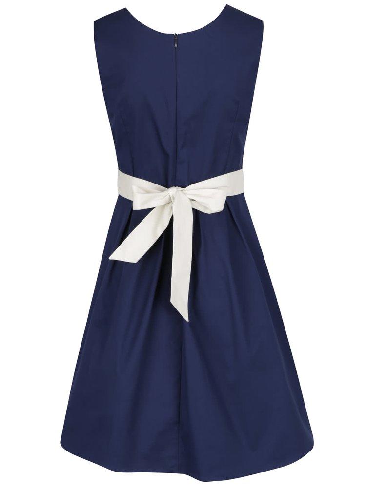 Tmavě modré šaty s červeno-bílým pruhem v pase Apricot