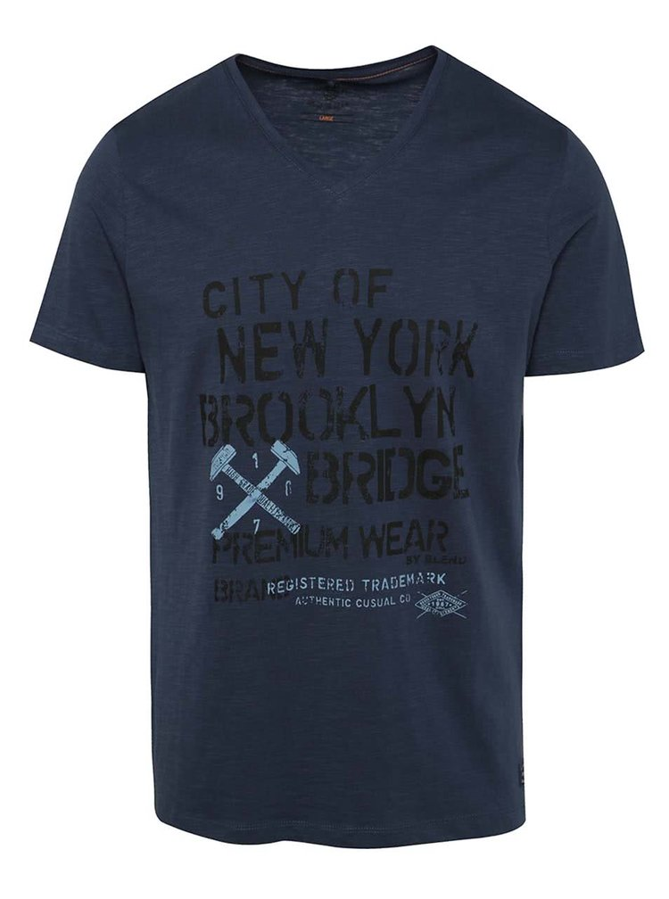Tmavě modré triko s potiskem a véčkovým výstřihem Blend