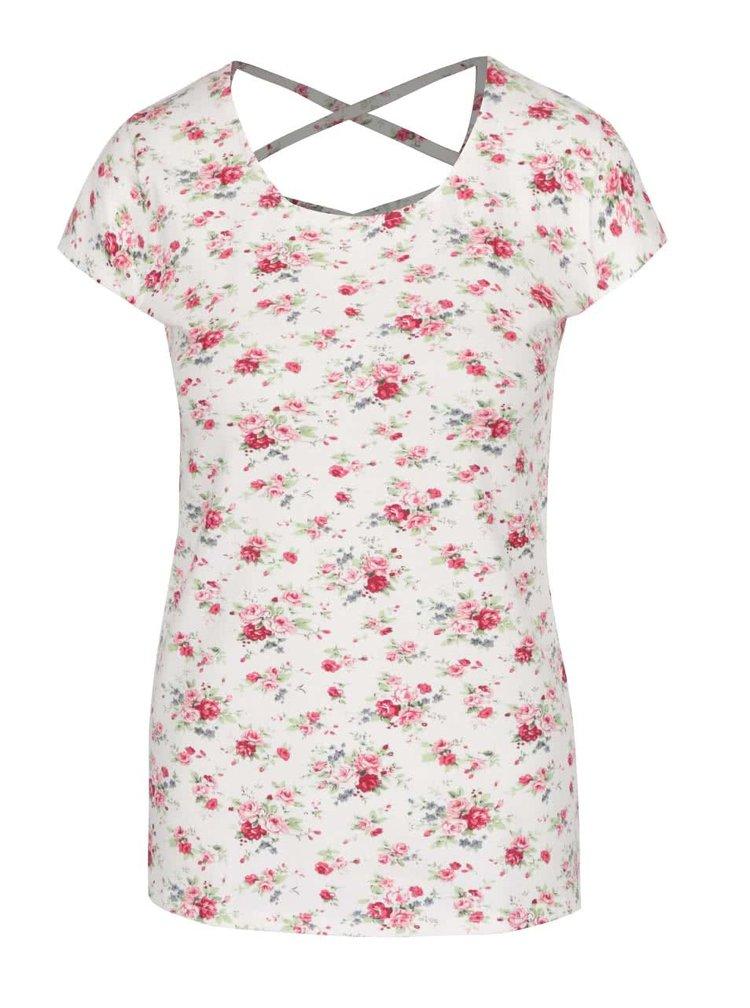 Krémové tričko s detailem na zádech a potiskem Haily´s Melanie