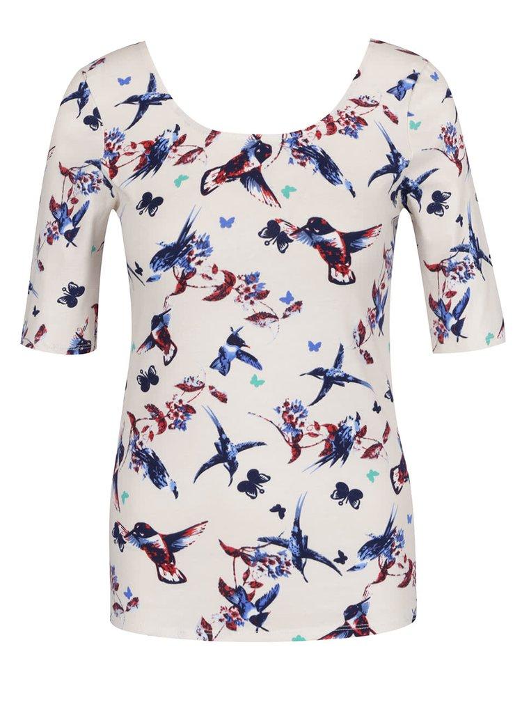 Béžové tričko s 3/4 rukávem a potiskem ptáků Haily's Rachel
