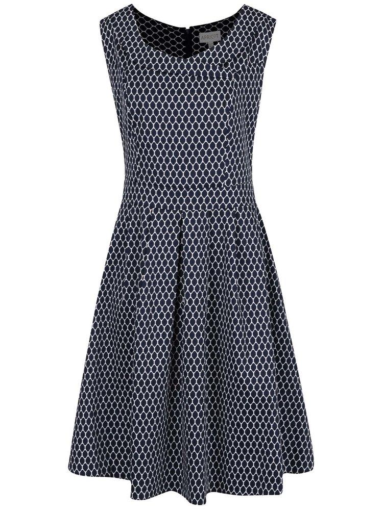 Tmavě modré vzorované šaty se skládanou sukní Apricot