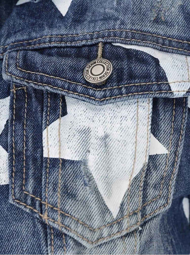 Jachetă albastră din denim Haily´s Alisa cu model și aspect prespălat
