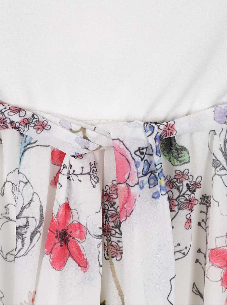 Rochie alba Haily's Florie cu model floral si cordon in talie