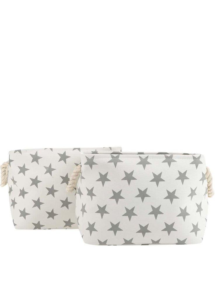 Sada dvou textilních úložných košů v krémové barvě s motivem hvězd Dakls