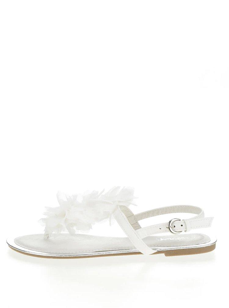 Sandale albe Haily's Rosa cu detaliu