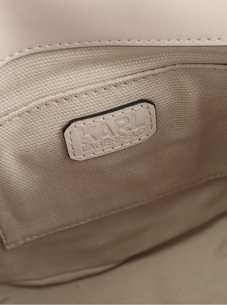 Krémová kožená crossbody kabelka KARL LAGERFELD