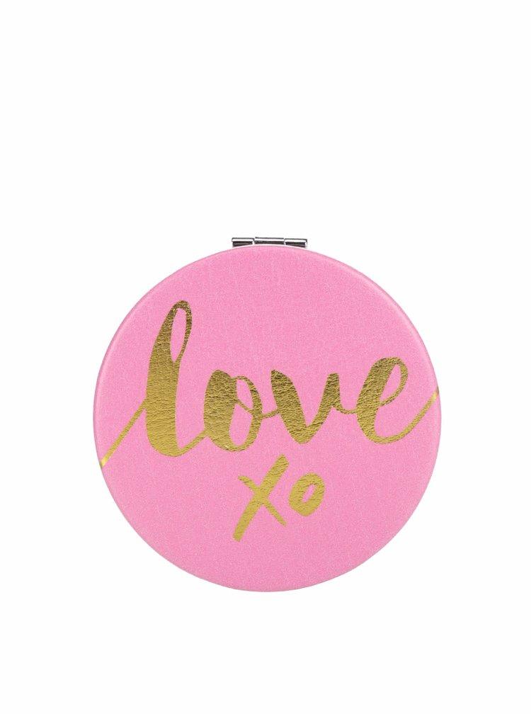 Oglindă roz CGB love xo cu print și model