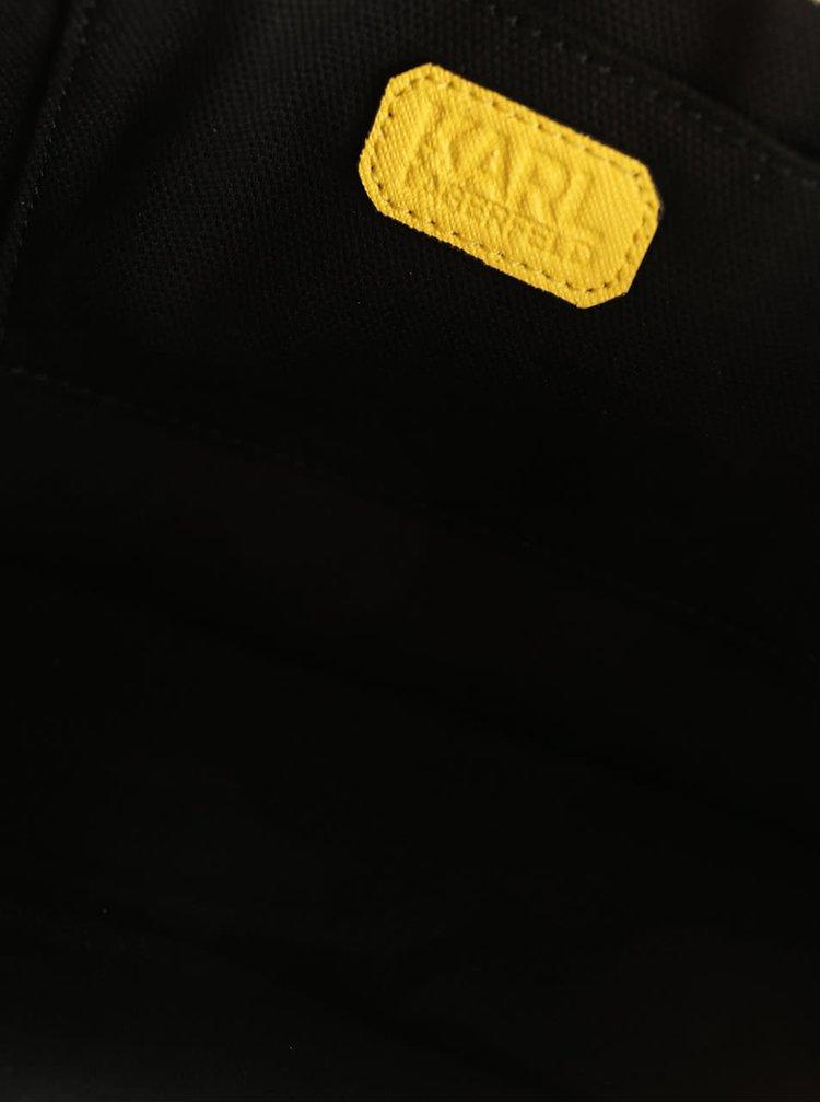 Žlutá kožená crossbody kabelka s detaily ve zlaté barvě KARL LAGERFELD