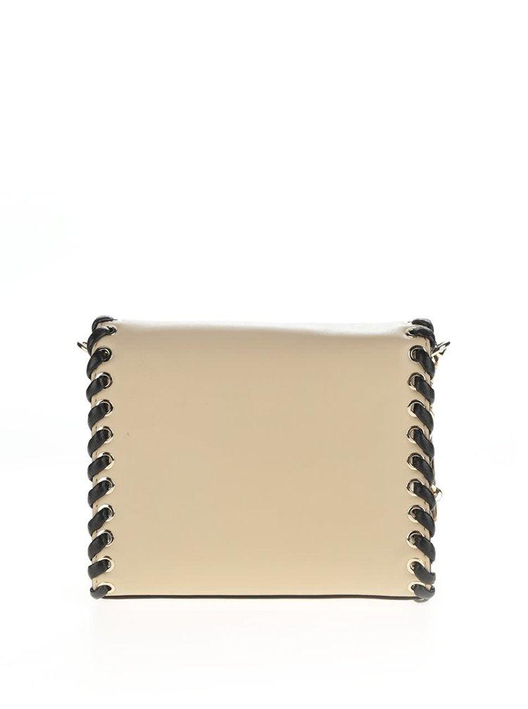 Béžová kožená crossbody kabelka s detaily ve zlaté barvě KARL LAGERFELD
